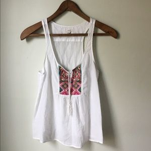 Aerie Embroidered Tank Top, size Small